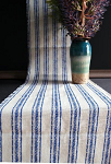 Natural Linen runner with Blue stripes