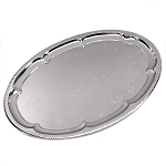 Oval silver metal tray