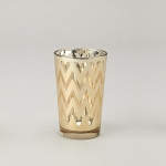 Chevron Glass Votive Candle Holder (6 count) GOLD