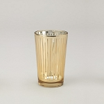 Striped Glass Votive Candle Holder (6 count) GOLD