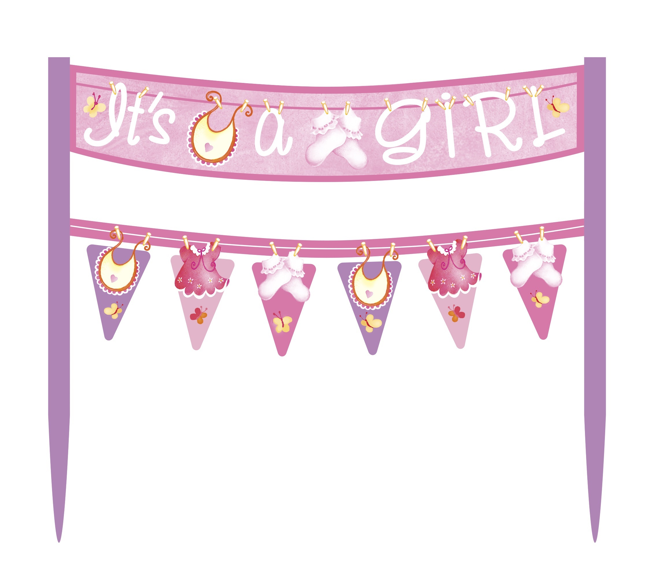 Cake banner pink It's a girl UI42464