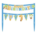 Cake banner blue Happy first birthday UI42621