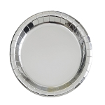 Metallic silver paper plate