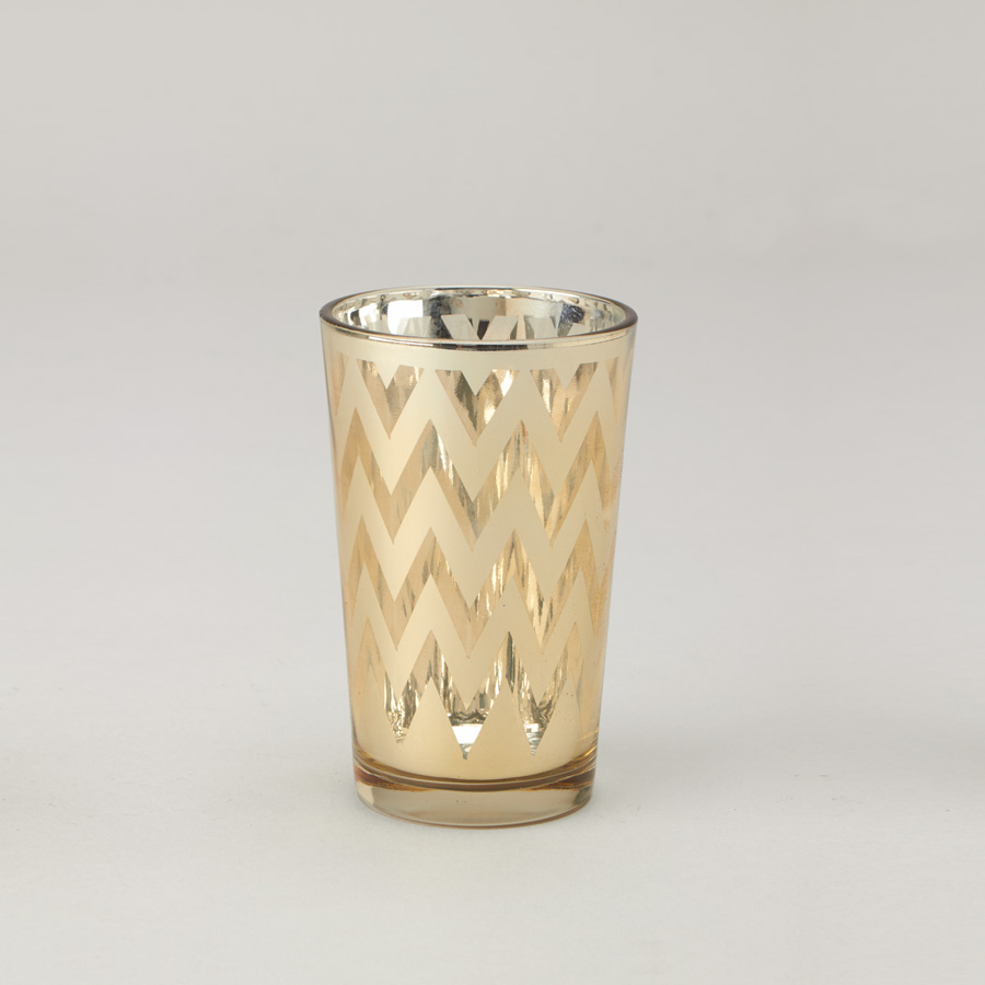 Large Gold Chevron Glass Votive Candle Holder