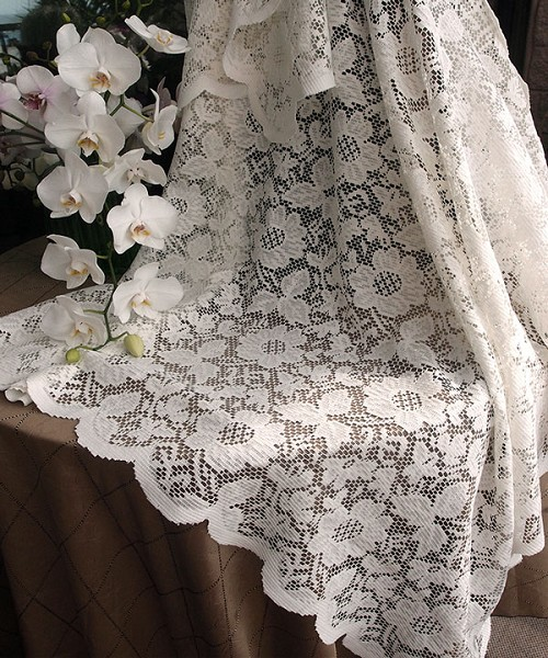 Ivory square lace table overlay