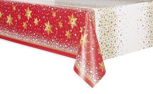 Red/gold Snowflake tablecloth 54