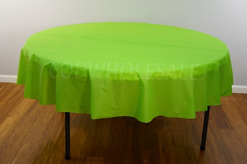 APPLE GREEN 84 inch round plastic tablecover