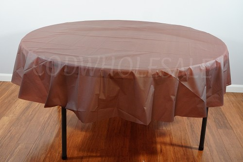 BROWN 84 inch round plastic tablecover