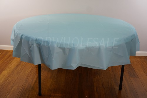 LIGHT BLUE 84 inch round plastic tablecover