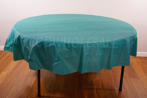 TEAL 84 inch round plastic tablecover