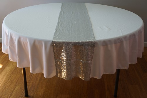 Sequin Table Runner 14inx108in SILVER