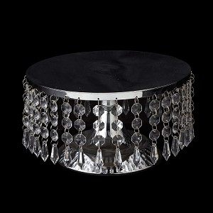 Crystal Beaded Cake Stand and Centerpiece 10 inch SILVER  740012SV