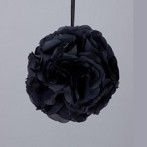 Black 7 and 10 inch silk flower pomander kissing balls silk kissing pomander flower ball black mightylinksfo
