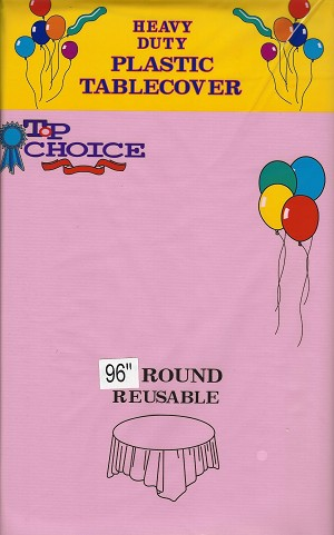 "PINK 96"" round plastic tablecloth"
