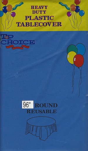 "ROYAL BLUE 96"" round plastic tablecloth"
