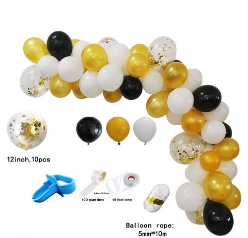 Black and gold balloon garland