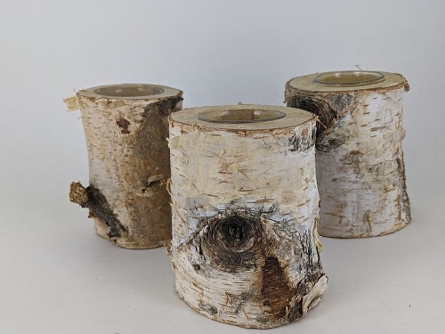 Natural birch tree tealight candle holder