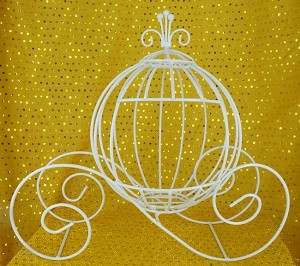 Wire Cinderella pumpkin carriage WHITE