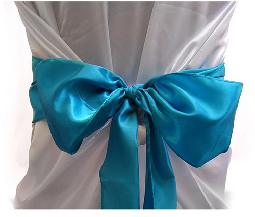 TURQUOISE satin chair bows (6pcs/bag)