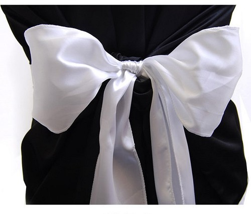 WHITE satin chair bows (6pc/bag)