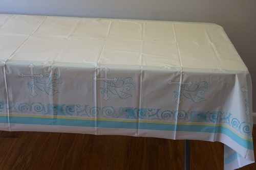 Blue Christian cross and dove plastic tablecloth
