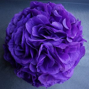 Purple 7 and 10 inch silk flower pomander kissing balls silk kissing pomander flower ball purple mightylinksfo