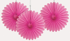 6 inch tissue paper fan HOT PINK 3 pieces UI63256