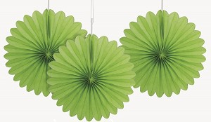 LIME 6 inch tissue paper fan (3ct)