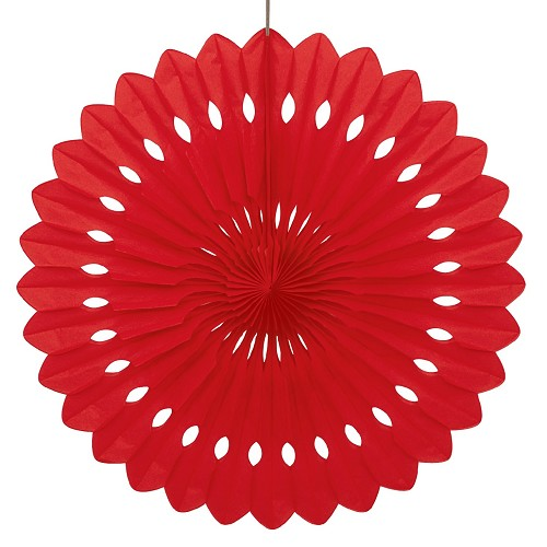 RED 16 inch tissue paper fan