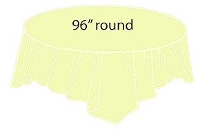 "96"" round plastic tablecloth IVORY"