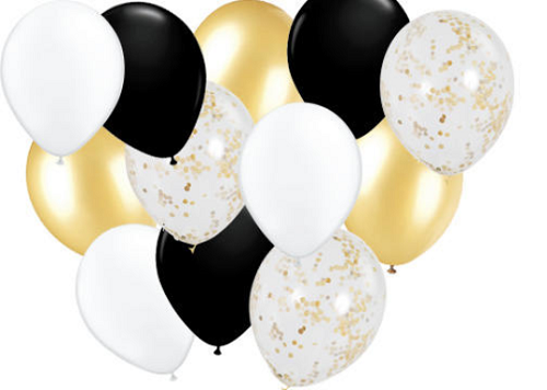 15 balloons, confetti, gold, black, white