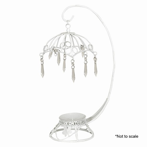 Wire umbrella with hanging crystals
