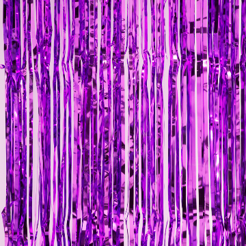 Purple metallic fringe curtains
