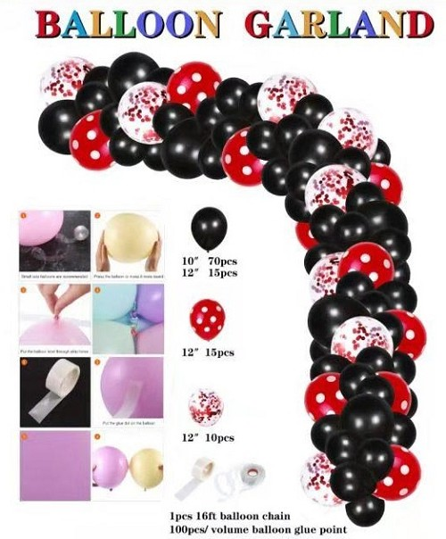 Mickey mouse red and black balloon garland