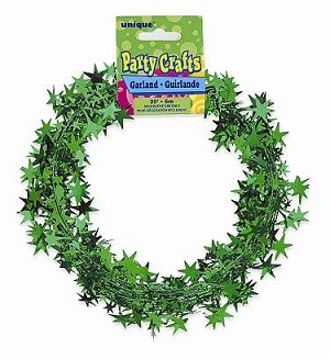 20' star garland GREEN