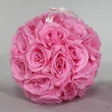 Pink 7 And 10 Inch Silk Flower Pomander Kissing Balls