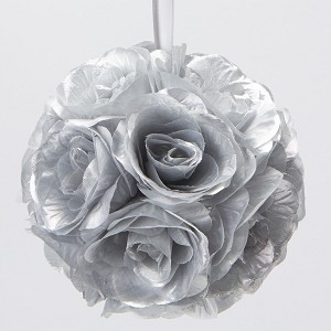Silver 7 and 10 inch silk flower pomander kissing balls silk kissing pomander flower ball silver mightylinksfo