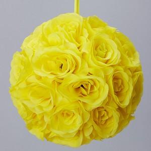 White 7 and 10 inch silk rose flower pomander kissing balls silk kissing pomander flower ball yellow mightylinksfo