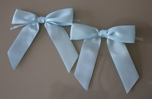 "RBSFS5TT Single faced ribbon bow 7/8"" x 3.5"" with twist tie LIGHT BLUE"