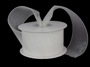 Monofilament organza ribbon WHITE