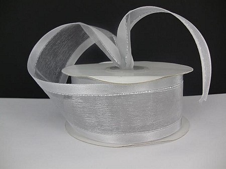 Satin edge organza WHITE W/ SILVER STRIPE