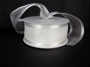 Satin edge organza WHITE  3/8""