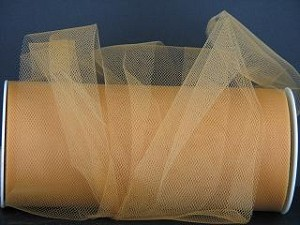 "Nylon tulle 6"" x 25 yds OLD GOLD"