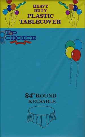 "TURQUOISE 84"" round plastic tablecover"