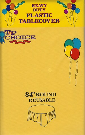 "84"" plastic round tablecover YELLOW"