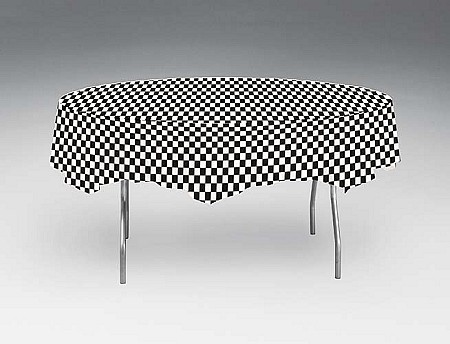 Black And White Check Round Plastic Tablecloths