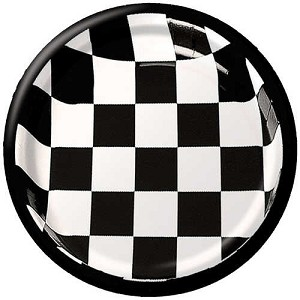 "58197 checked paper BLACK/WHITE 8-3/4"" dinner plates (25 pieces)"