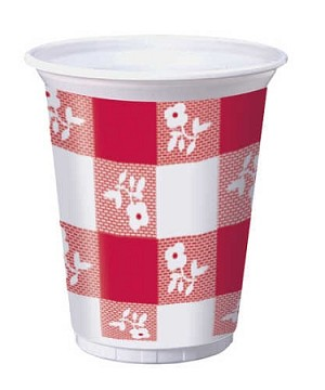 Gingham plastic 16 ounce cups RED/WHITE (25 pieces)