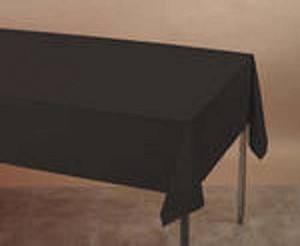 "BLACK 54""x108""rectangle plastic lined paper tablecloth"