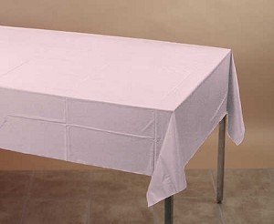 Light Pink 54 X108 Rectangle Plastic Lined Paper Tablecloth